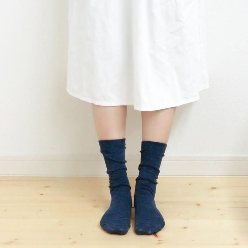 カシミヤシルク柄編みソックス