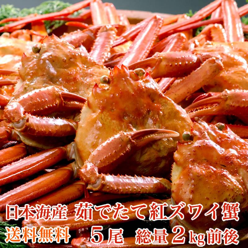 【送料無料】日本海産 茹でたて紅ズワイ蟹 5尾(総量2kg前後)【かに カニ 蟹】