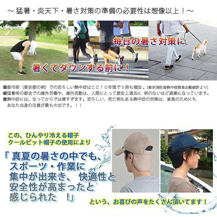 熱中症対策 暑さ対策 帽子 キャップ メッシュキャップ グッズ 建設業 ランニング ジョギング ひんやり 冷える帽子 クールビット