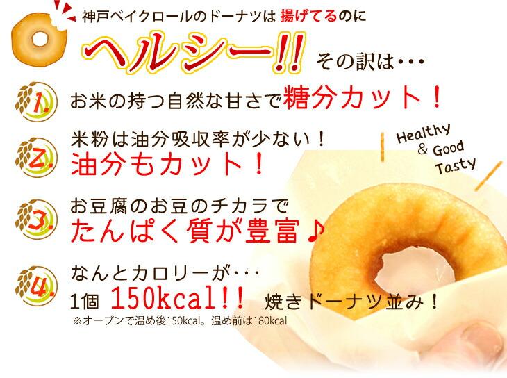 米粉の自然な甘さで糖分カット!タンパク質が豊富で油分吸収率が少ないヘルシー素材。カロリーは1個150kcal.