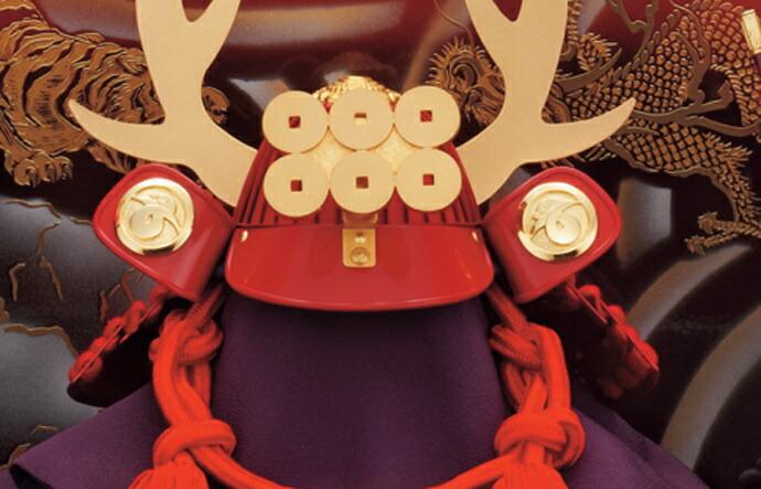 五月人形 五月節句飾り 忠保作 兜飾り 収納飾り 真田幸村兜飾り10号 (戦国武将・真田幸村)(紅塗台屏風)(収納型・収納タイプ)画像2