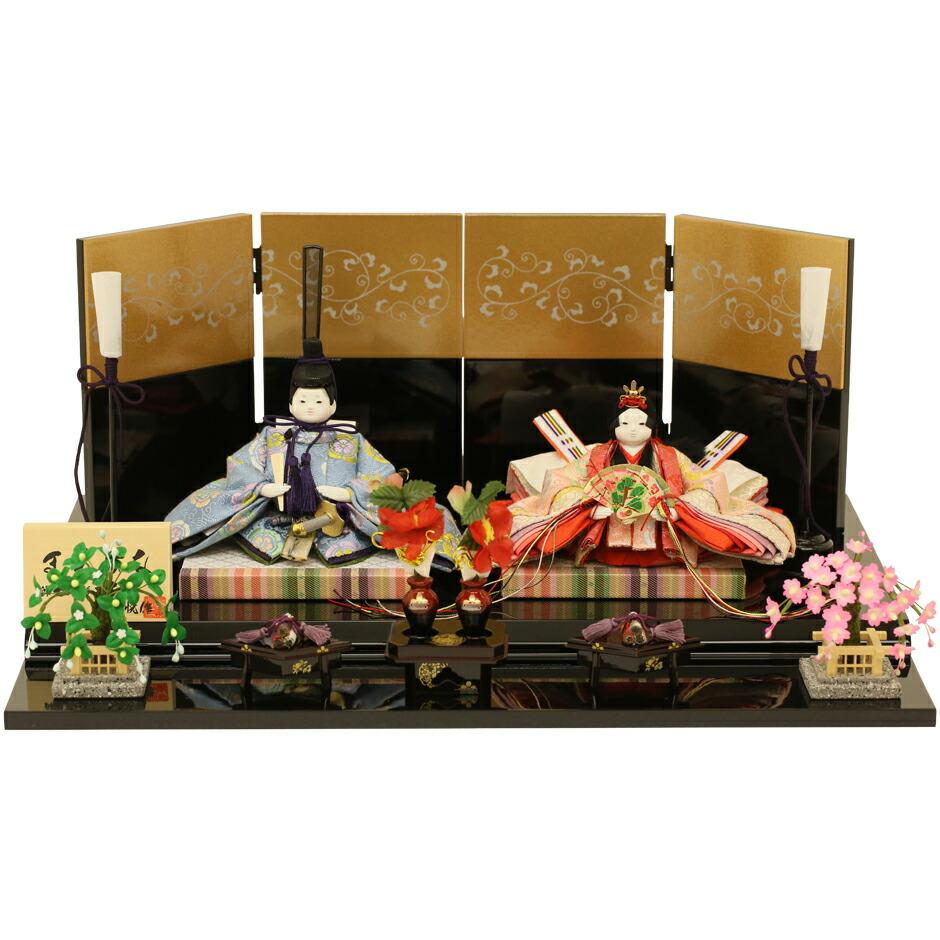 ひな人形 雛人形 五人飾り 衣装着ひな人形 まめひな 曙塗り 初節句 お祝い