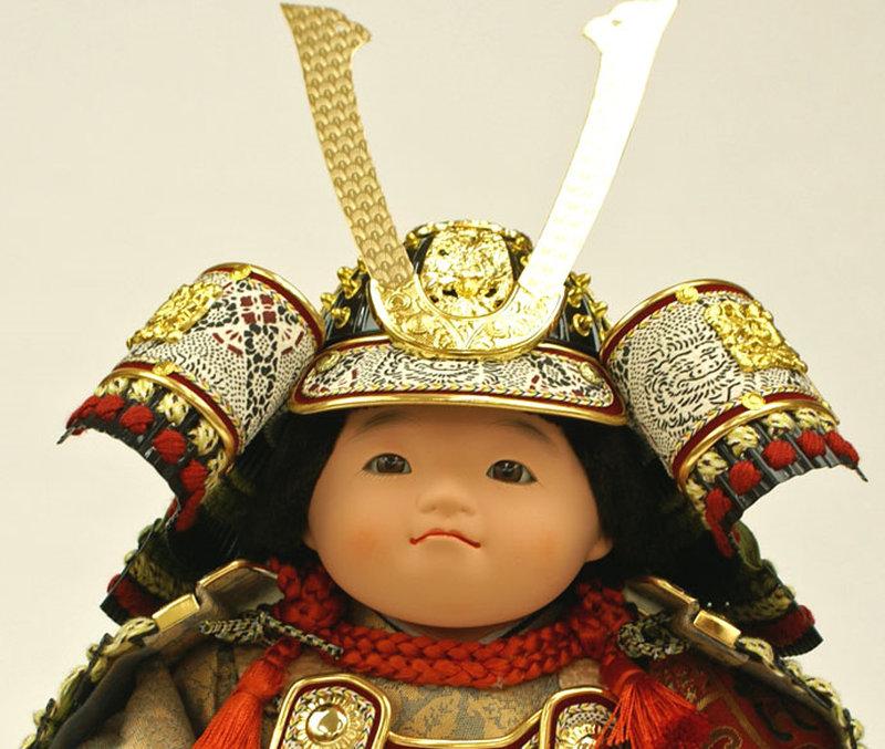 五月人形 五月節句飾り 平飾り 武者人形 子供大将 (鎧姿) 人形工房天祥オリジナル 五月人形・健ちゃんシリーズ 「健 (鎧着・萌黄)」 (正絹糸縅仕立)画像3