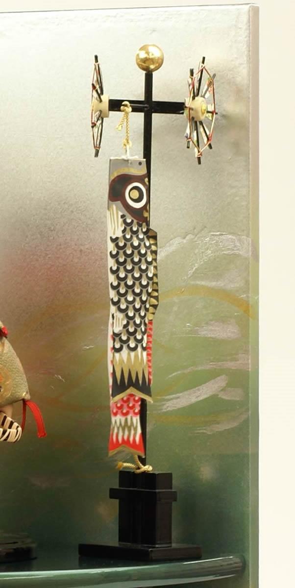 五月人形 五月節句飾り 平飾り 武者人形 子供大将 (陣羽織姿) 人形工房天祥オリジナル 五月人形・健ちゃんシリーズ 「ミニ健 (陣羽織・立姿)」 (正絹糸縅仕立)(コイノボリ飾り付)画像7