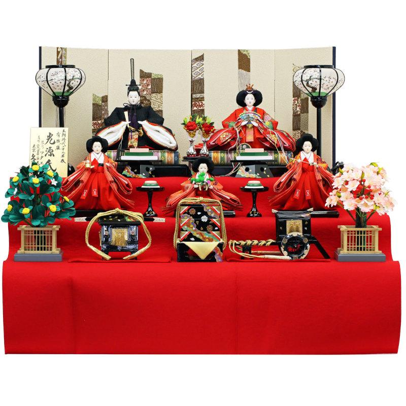 久月×人形工房天祥 コラボ限定オリジナルひな人形 「久月 ワダエミ監修 ひな人形 雛人形 三段飾り 五人飾り 五人揃え 有職雛 光源氏」