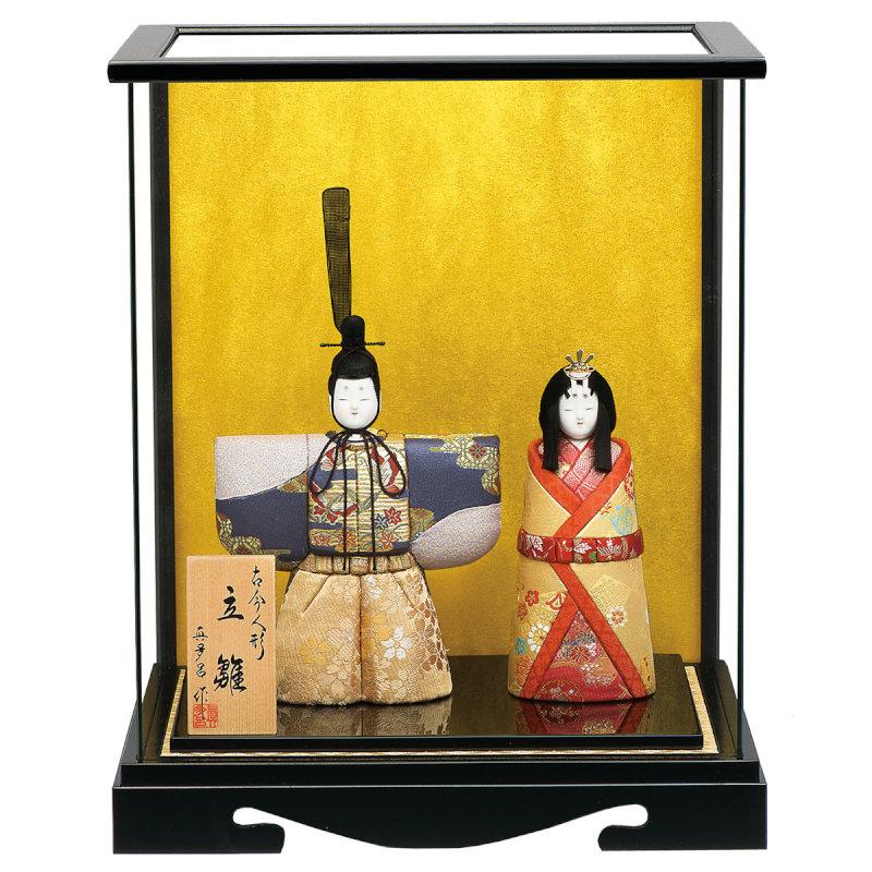 古今立雛シリーズ ケース飾り 親王飾り(神雛)桜花立雛ケース入セット