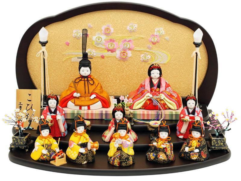 こひな 流水さくら-十人飾り-人形工房天祥オリジナル