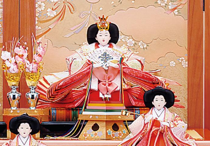 雛人形 十二単 衣装着雛人形 祥秀作 三段飾り 雛 十番親王三五官女 (三人官女付)画像2