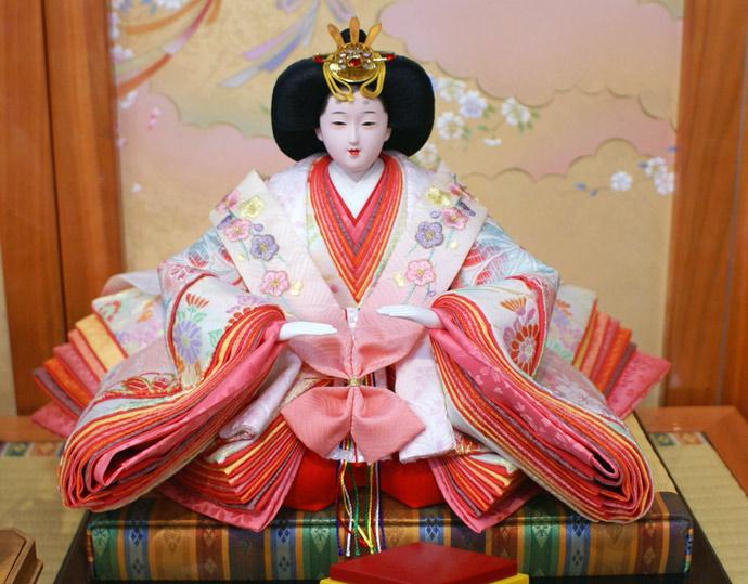雛人形 十二単 衣装着雛人形 祥秀作 三段飾り 雛 十番親王三五官女 (三人官女付)画像3