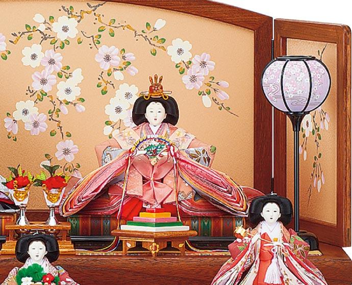 雛人形 十二単 衣装着雛人形 祥秀作 三段飾り 雛 小十番親王小三五官女 (三人官女付)(正絹京友禅仕立)画像2