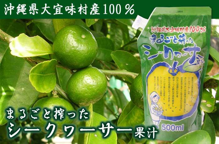 大宜味村産100%まるごと絞ったシークヮーサー果汁500ml(パウチ)