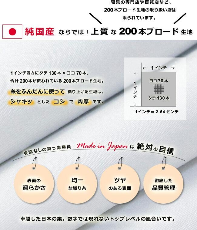 糸をふんだんに使った200本ブロード生地、日本で作り上げた生地は仕上がりが上質