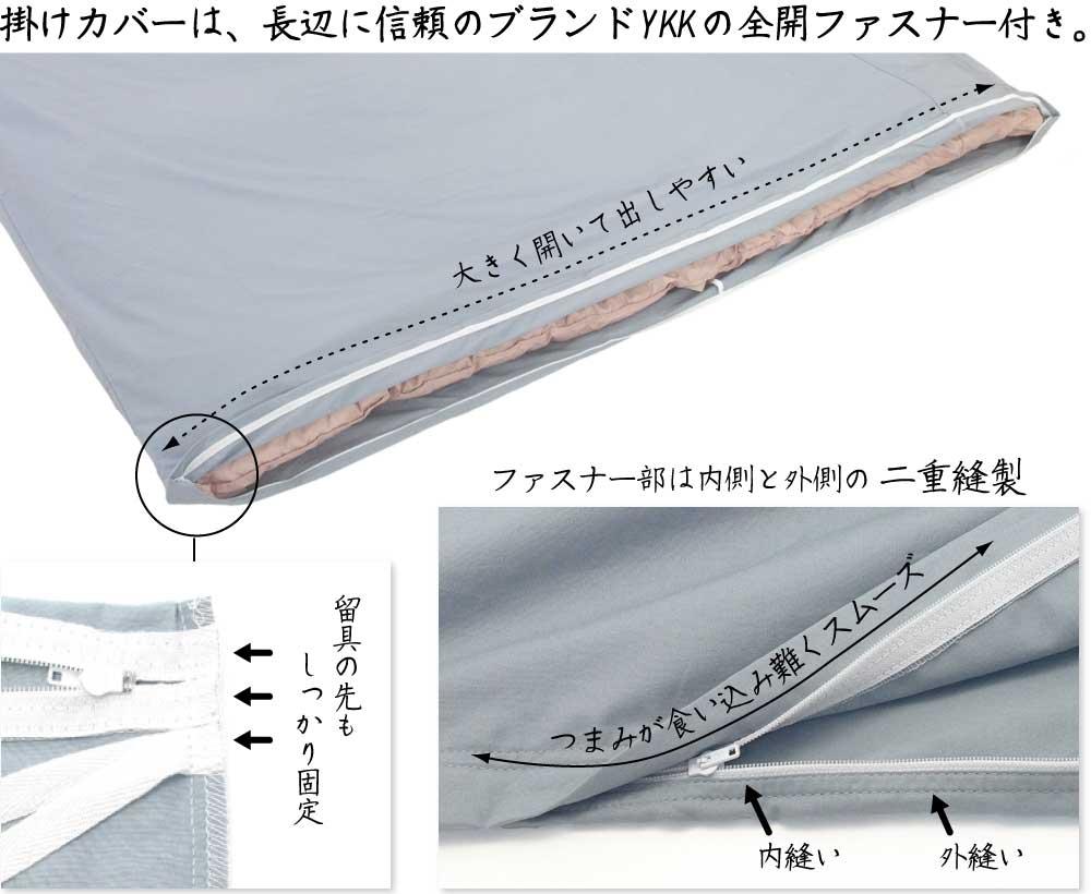 開閉がスムーズな二本針縫製、YKK全開ファスナー付き