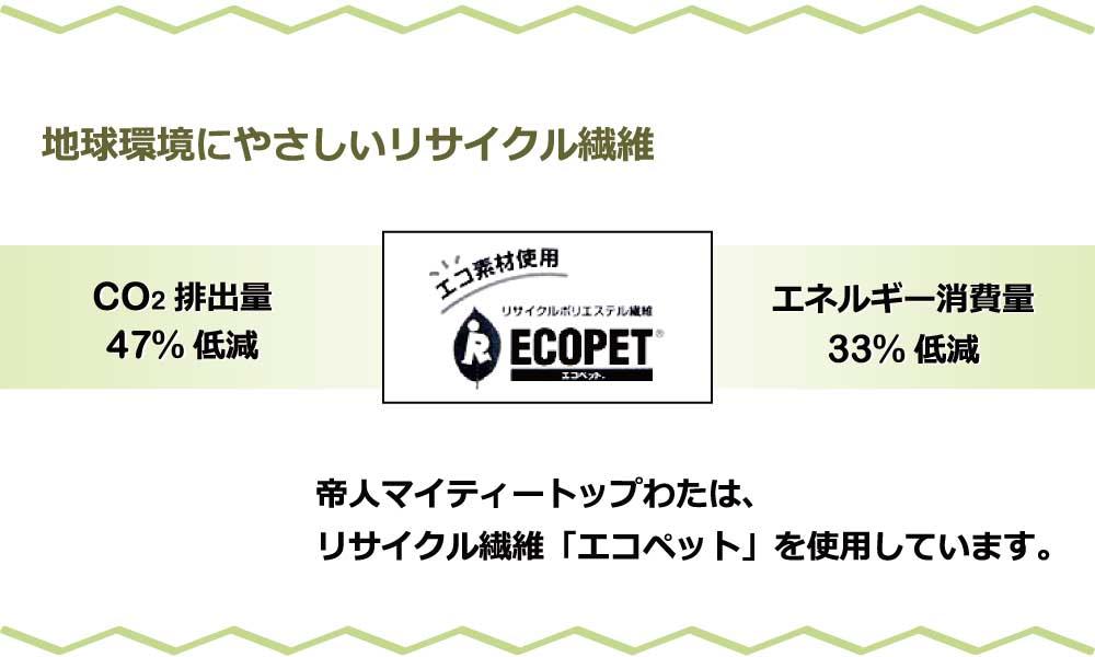 リサイクルのポリエステル繊維エコペット使用
