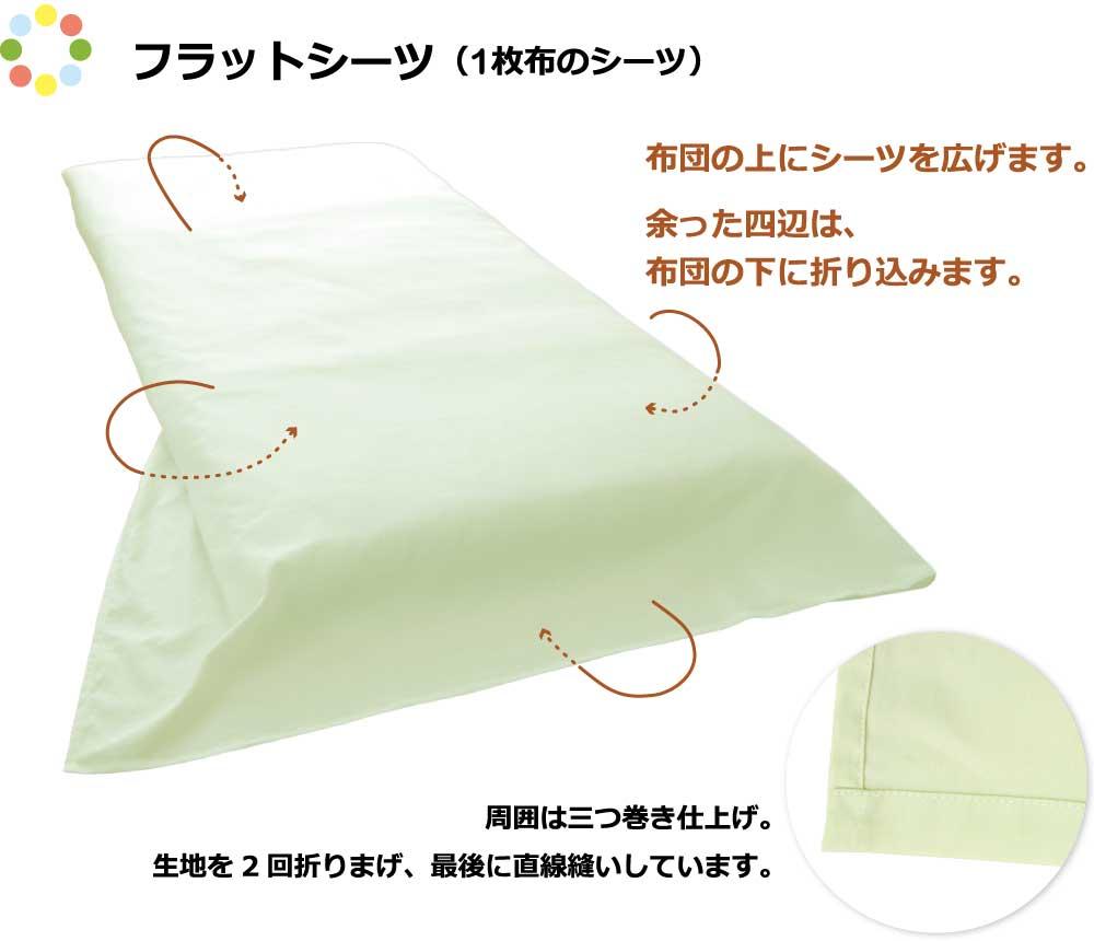 フラットシーツ、1枚布のシーツ、四辺三巻仕上げ、布団の上に広げて余った部分を折り込む
