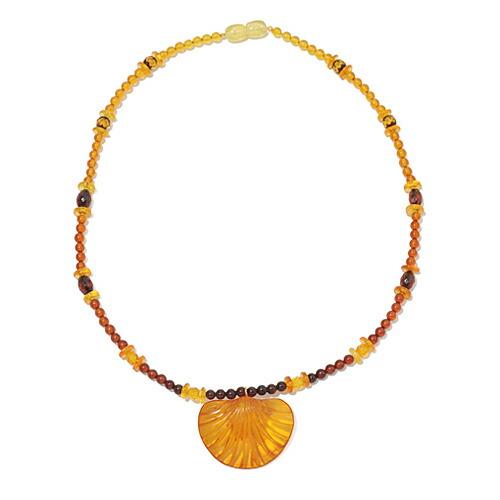 琥珀 ネックレス イエローアンバー コニャック 貝殻 グラデーション 丸玉 蜂蜜 ハニー 天然石 パワーストーン 送料無料 代引き無料