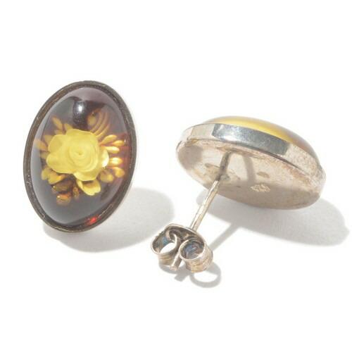 琥珀 ピアス イヤリング シルバー インタリオ 薔薇 バラ ばら お花 植物 沈み彫り アンバー 天然石 琥珀 パワーストーン 送料無料 代引き無料