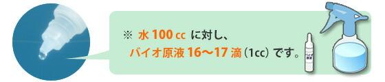 水100ccに対し、バイオ原液16〜17滴(1cc)です。