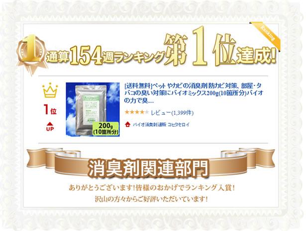 消臭剤関連部門 通算154週ランキング第1位達成!