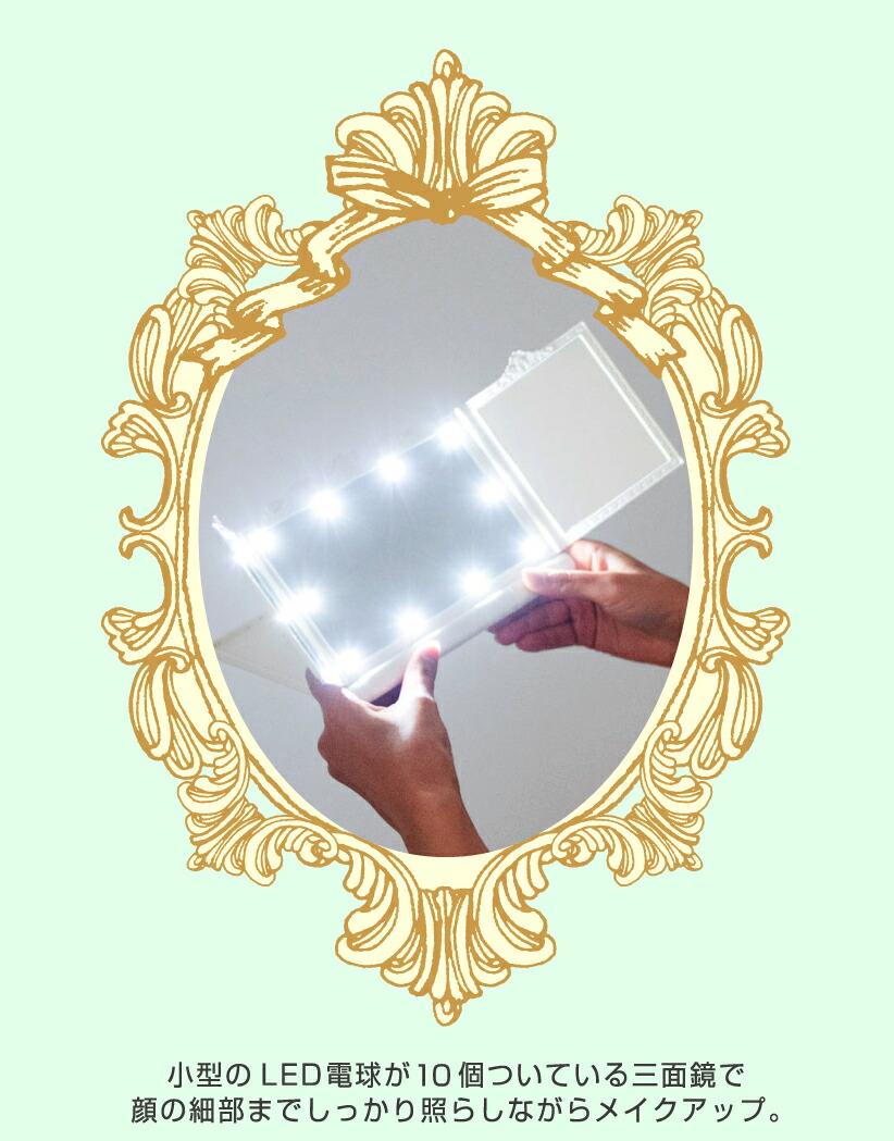 小型LED付き三面鏡
