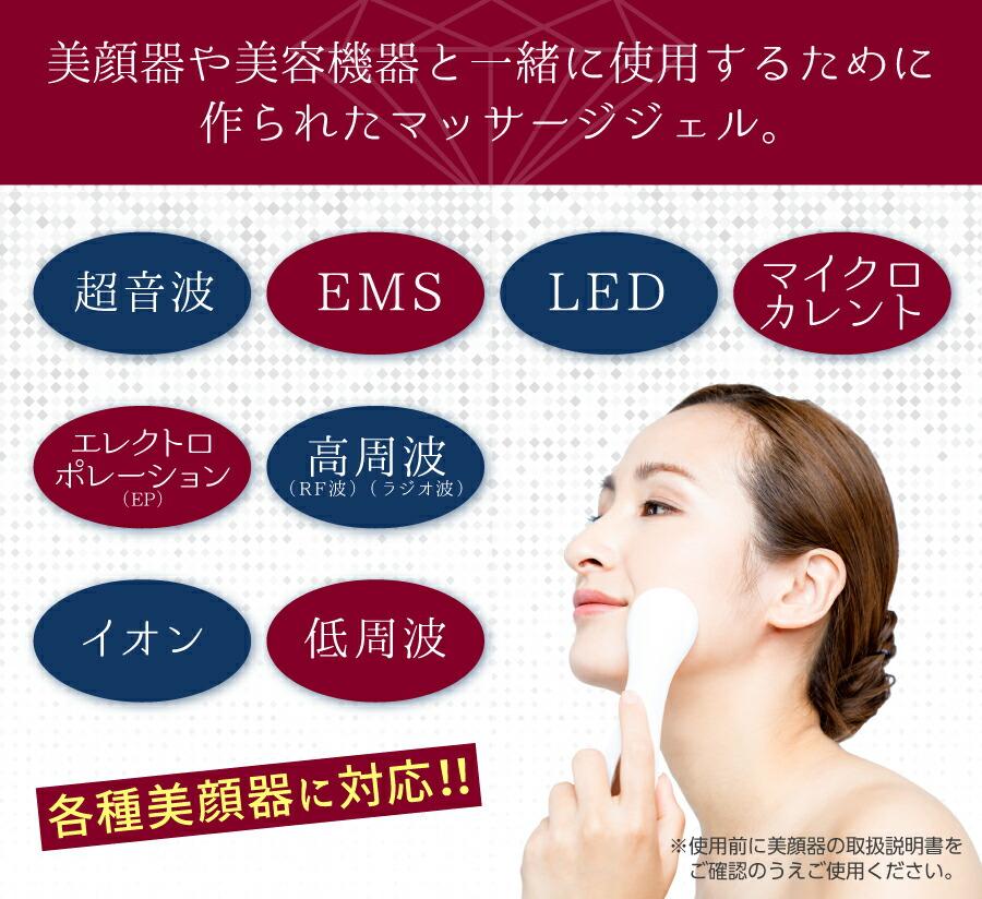 美顔器や美容機器と一緒に使用するためのマッサージジェル