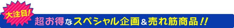 大注目!超お得なスペシャル企画&売れ筋商品!!