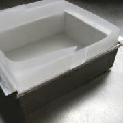米粉の浮島 型に紙を敷く