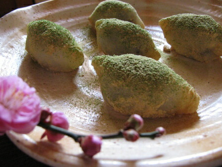 もち粉で作る鶯餅
