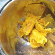 米粉のかぼちゃとリンゴのタルト ふかしたかぼちゃ