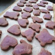 米粉の紫芋クッキー 焼き上がり