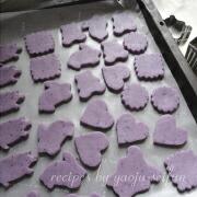 米粉の紫芋クッキー 天板に並べる