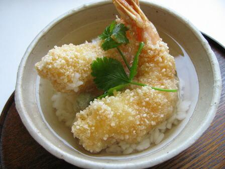 米粉と道明寺粉でつくる天ぷらの天ぷら茶づけ