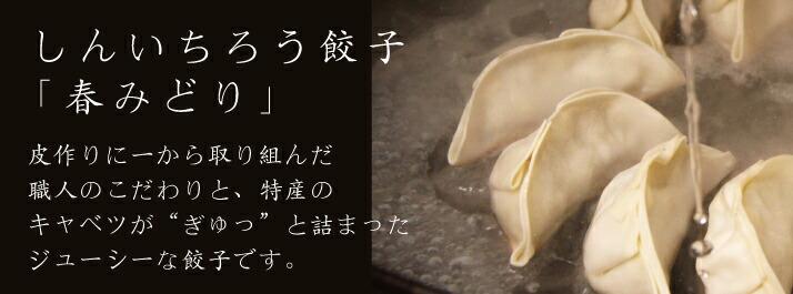 しんいちろう餃子、春みどり。川作りに一から取り組んだ、職人のこだわりと、特産のキャベツが詰まったジューシーな餃子です。