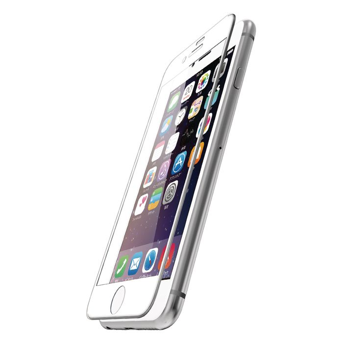 iPhone7 2016年9月モデル 4.7インチ アイフォン7 保護フィルム フルカバーガラスフィルム エレコム PM-A16MFLGGR03W