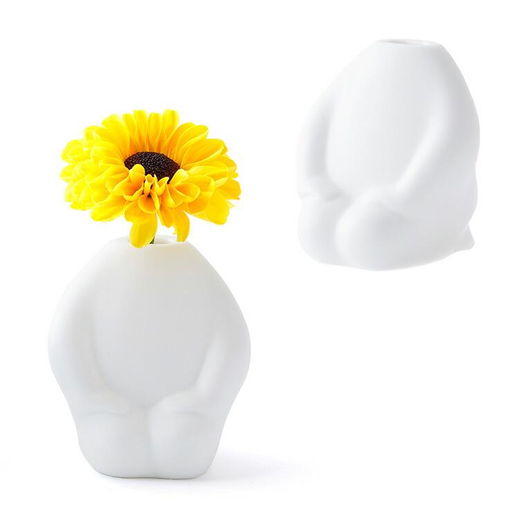ふらわーまん みに 一輪挿し 花瓶 花器 かお せいざ 仏像 磁器 可愛い プレゼント