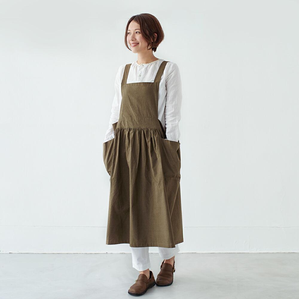 さにーろけーしょん えぷろん わんぴーす ギャザー シンプル 綿 日本製 母の日 国産 こっとん どれす プレゼント