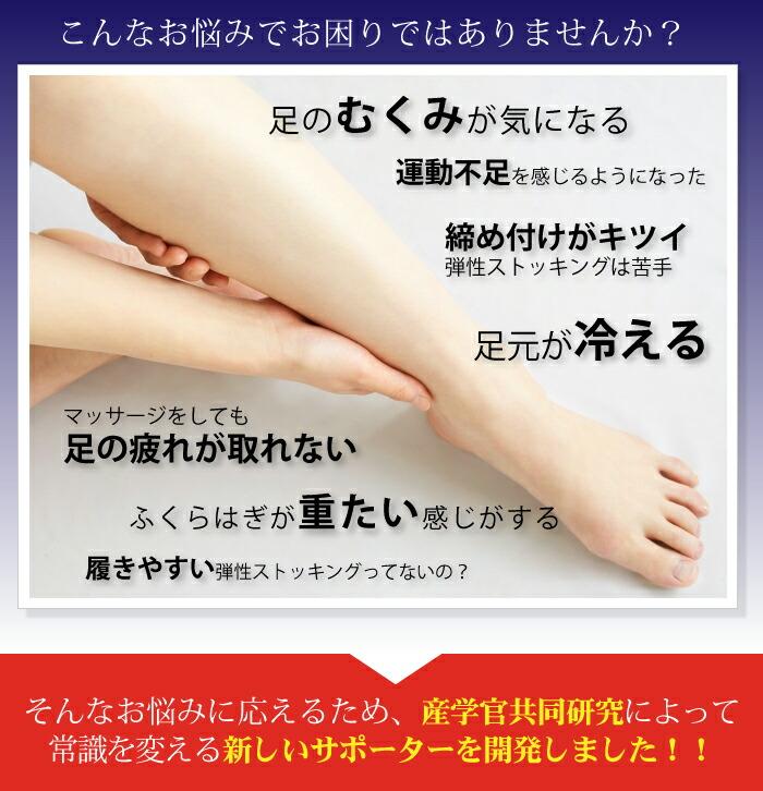 こんなお悩みでお困りではありませんか?足のむくみが気になる。運動不足を感じるようになった。締め付けがキツイ弾性ストッキングは苦手。足元が冷える。マッサージをしても足の疲れが取れない。ふくらはぎが重たい感じがする。履きやすい弾性ストッキングってないの?そんなお悩みに応えるため、産学官共同研究によって常識を変える新しいサポーターを開発しました!