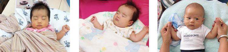 SANGOくっしょんですやすや眠る赤ちゃんたち