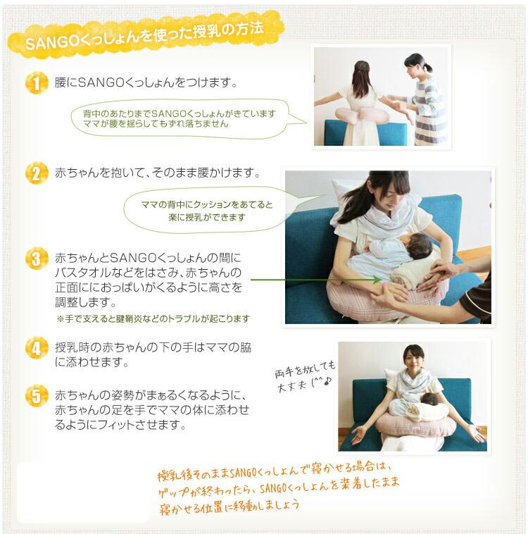 SANGOくっしょんを使った授乳の方法