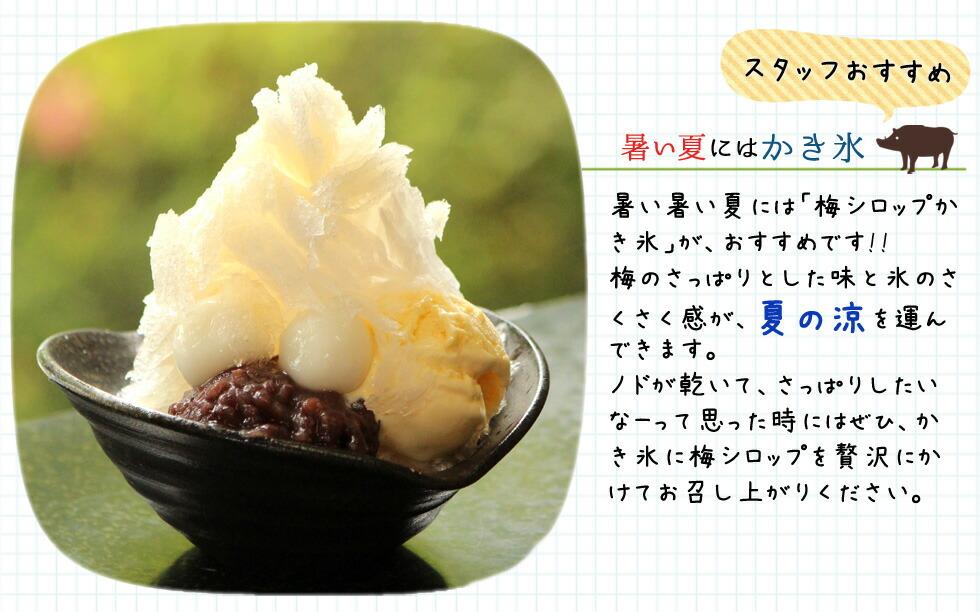 スタッフおすすめ!暑い夏にはかき氷。暑い暑い夏には「梅シロップかき氷」がおすすめです。梅のさっぱりとした味と氷のさくさく感が、夏の涼を運んできます。ノドが乾いて、さっぱりしたいなーって思った時にはぜひかき氷に梅シロップを贅沢にかけてお召し上がりください。