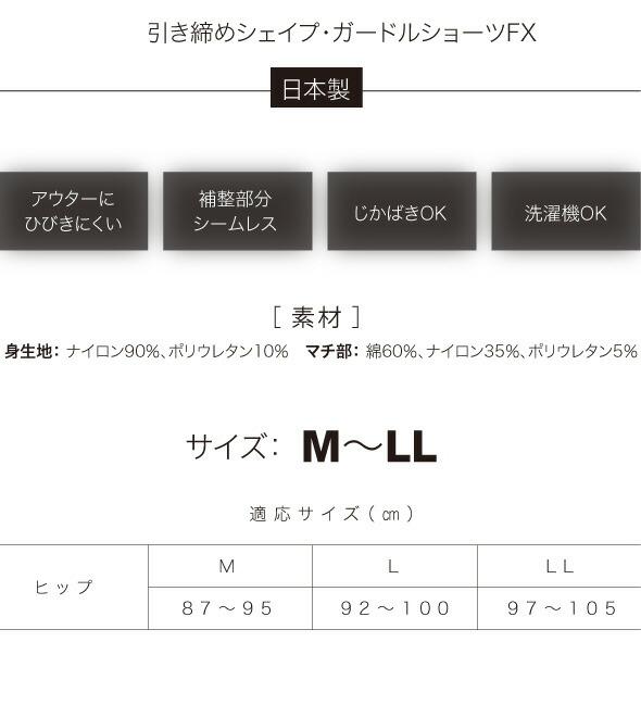 引き締めシェイプ・ガードルショーツFX。日本製。アウターにひびきにくい。補整部分シームレス。じかばきOK。洗濯機OK。素材・サイズ