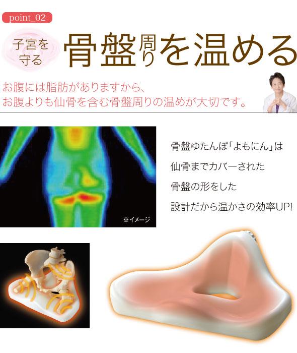 ポイント2 子宮を守る 骨盤周りを温める お腹には脂肪がありますから、お腹よりも仙骨を含む骨盤まわりの温めが大切です。骨盤ゆたんぽよもにんは仙骨までカバーされた骨盤の形をした設計だから温かさの効率アップ