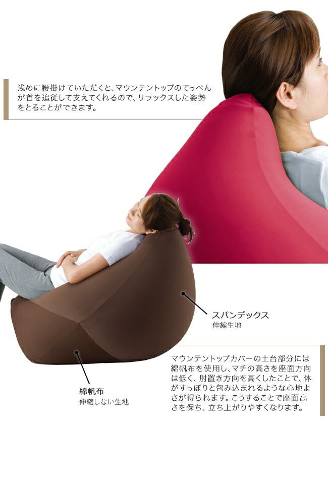 浅めに腰掛けていただくと、マウンテントップのてっぺんが首を追従して支えてくれるので、リラックスした姿勢をとることができます。マウンテントップカバーの土台部分には綿帆布を使用し、マチの高さを座面方向は低く、肘置き方向を高くしたことで体がすっぽりと包み込まれるような心地よさが得られます。こうすることで座面高さを保ち、立ち上がりやすくなります。スパンデックス、伸縮生地。綿帆布、伸縮しない生地。