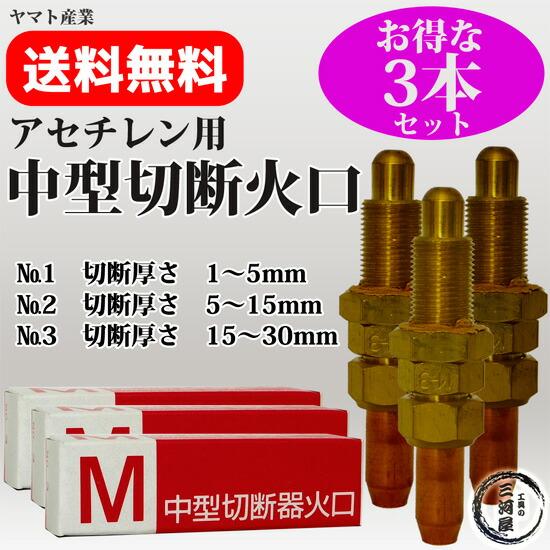 アセチレン用中型切断器(中切)火口No.1No.2No.3セット