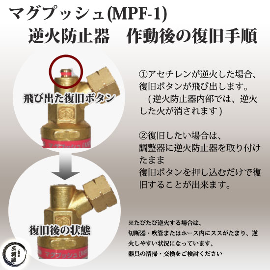 ヤマト産業 乾式安全器(逆火防止器) マグプッシュ(アセチレン用) MPF-1 【トラスコ298-5586】復旧方法