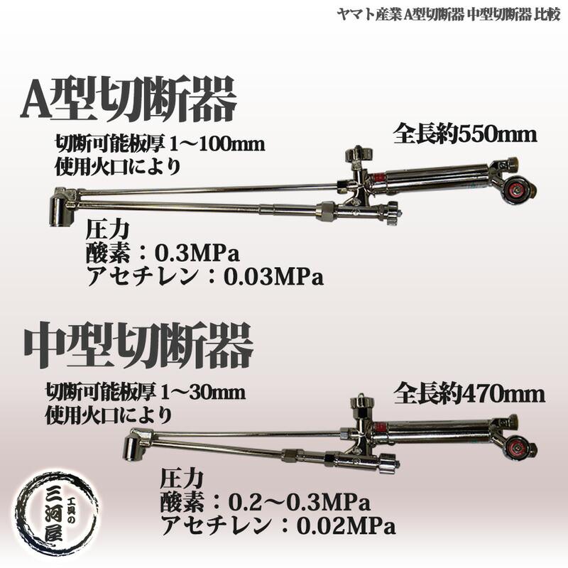 ヤマト産業 アセチレン用中型切断器(中切)N-YC-1W 火口No.2 CN1-2セット (切断板厚5~15mm)大きさ