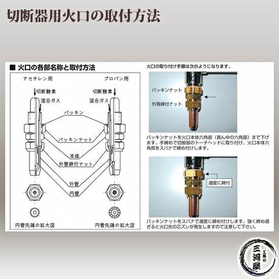 ヤマト産業 アセチレン用中型切断器(中切)N-YC-1W 火口No.2 CN1-2セット (切断板厚5~15mm)取替