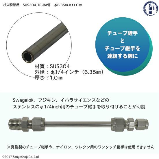 高圧ガス配管用ステンレス管 SUS304 TPS-BA管 φ6.35mm(1/4インチ) 直管 約50mm詳細