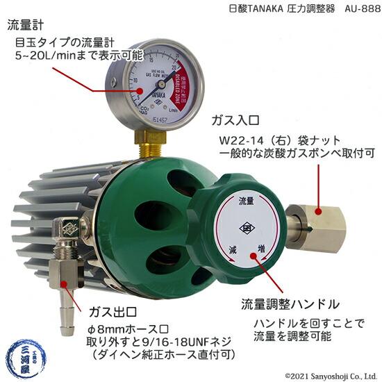 炭酸・MAGガス用フィン付き圧力調整器 AU-888 電源不要 日酸TANAKA製説明