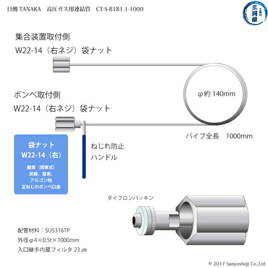 日酸TANAKA 高圧ガス用連結管 CT-S-B1B1-1-1000 概略